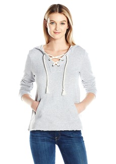 Splendid Women's Lace up Hoodie heathergrey XL