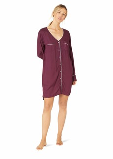 Splendid Women's Long Sleeve Boyfriend Sleepshirt Pajama Dress Pj fig Magenta Purple XS