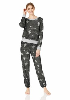 Splendid Women's Long Sleeve Sweater Top and Relaxed Jogger Pajama Set Pj Grey with Glitter Star Spring