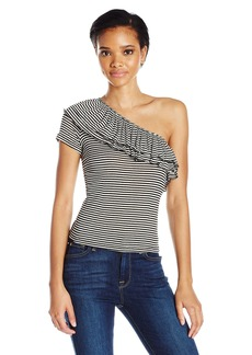 Splendid Women's One Shoulder S/s Ruffle Top  L