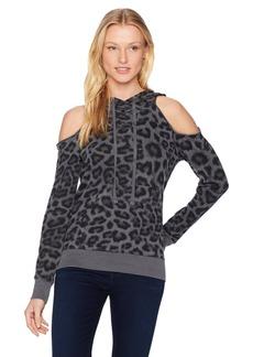Splendid Women's Printed Leopard Cold Shoulder Hoodie  M