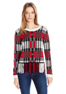 Splendid Women's Plaid Fringe Sweater Poppy S