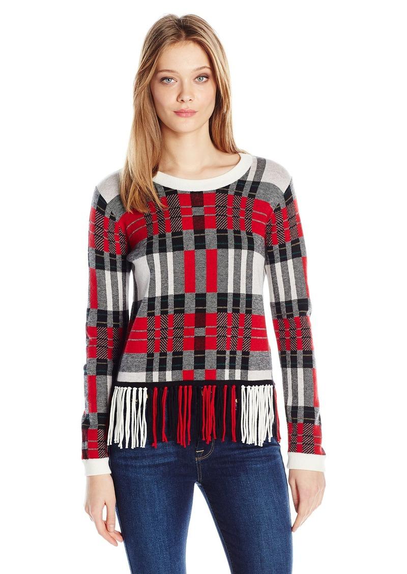 Splendid Women's Plaid Fringe Sweater Poppy S