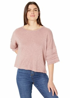 Splendid Women's Ruffle Sleeve Crewneck Tee T-Shirt  L