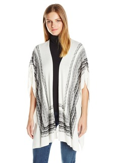 Splendid Women's Scarf Print Poncho  Medium/Large