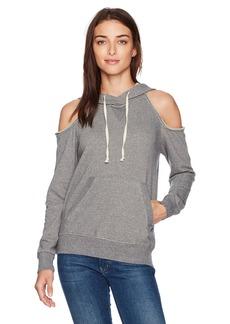 Splendid Women's Soft Cotton Gray Cold Shoulder Hoodie  XS