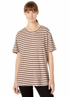 Splendid Women's Split Neck Crewneck Short Sleeve Tee T-Shirt  L