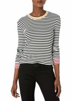 Splendid Women's Stripe Crewneck Long Sleeve Tee T-Shirt Black and White M