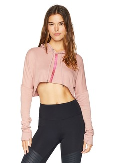 Splendid Women's Studio Activewear Sports Workout Crop Hoodie Sweater Pink tan M
