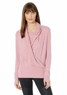 Splendid Women's Studio Activewear Workout Convertible Long Sleeve Wrap Top  S
