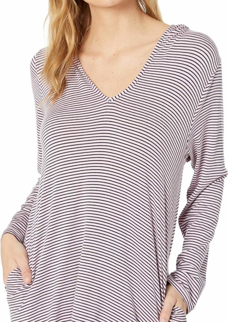 Splendid Women's Swimsuit Cover Up Stripe Hoodie Tunic