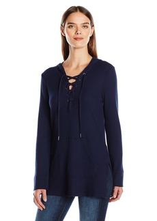 Splendid Women's Thermal Lace up Sweatshirt  edium