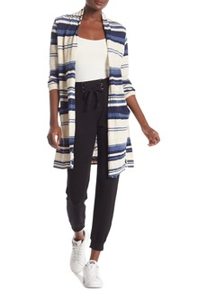 Splendid Striped Open Front Longline Cardigan