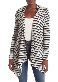 Splendid Striped Waffle Knit Cardigan Hoodie