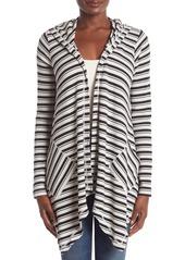 Splendid Striped Waffle Knit Cardigan Hoodie