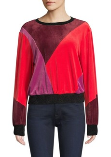 Splendid Velvet Patchwork Crewneck Sweater