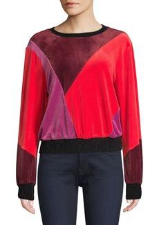 Splendid Velvet Patchwork Crewneck Sweater