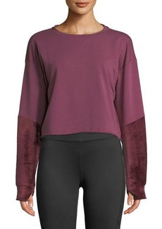 Splendid Velvet-Sleeve Cropped Crewneck Sweatshirt