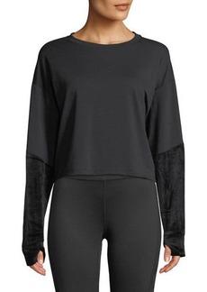 Splendid Velvet-Sleeve Cropped Crewneck Sweatshirt