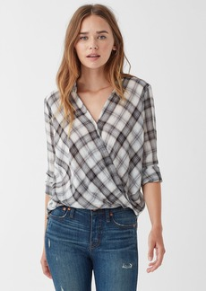 Splendid Willow Voile Plaid Surplice Top