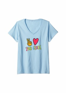 Splendid Womens Peace Love and Second First Day Back to School V-Neck T-Shirt