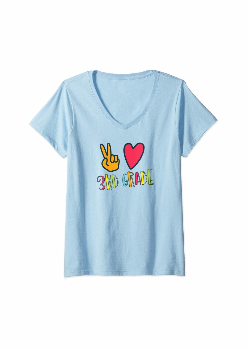 Splendid Womens Peace Love and Third Grade First Day Back to School V-Neck T-Shirt