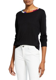 Splendid x Margherita Cashmere-Blend Sweater with Colorful Neckline