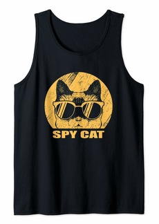 Spy Cat Funny Distressed Undercover Kitten Cat Mom Cat Dad Tank Top