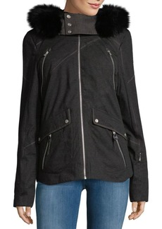 Spy Coyote Fur-Trimmed Hooded Jacket