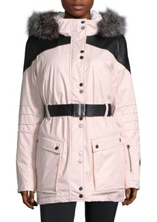 Spy Dulce Silver Fox-Trimmed Paneled Coat