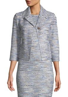 St. John 3/4-Sleeve Inlaid Copper Tweed Jacket