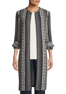 St. John 3/4-Sleeve Ombre Vertical-Stripe Tweed Jacket