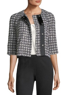 St. John 3/4-Sleeve Soft Plaid Jacket