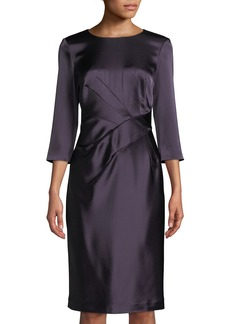 St. John 3/4-Sleeve Wrapped Waist Liquid Satin Dress