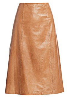 St. John A-Line Leather Midi Skirt