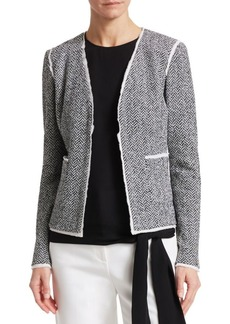 St. John Abby V-Neck Knit Herringbone Jacket