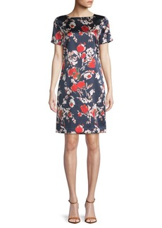 St. John Abstract Floral Stretch-Silk Shift Dress