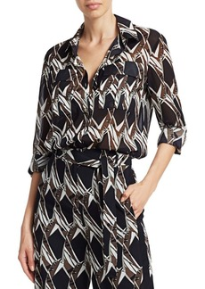 St. John Abstract Floral Tile Stretch Silk Tunic