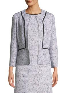St. John Alicia Tweed Jacket w/ Silk Georgette Piping