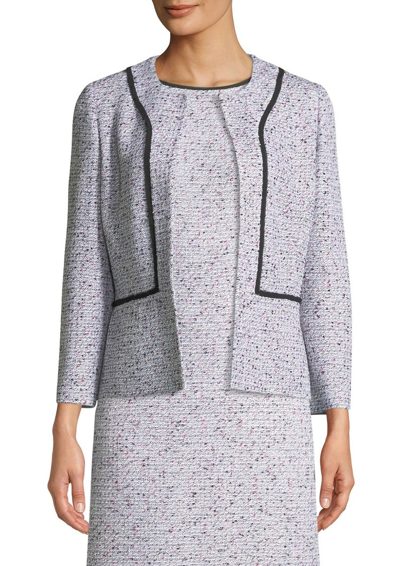 St. John Alicia Tweed Jacket w/ Silk Georgette Piping