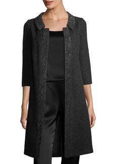 St. John Allure Knit 3/4-Sleeve Topper Coat