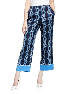 St. John Ankle-Length Silk-Twill Pants