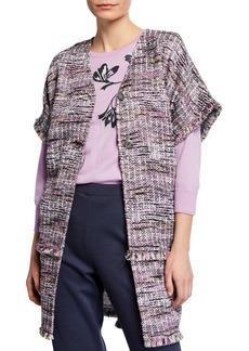 St. John Anna Woven Short-Sleeve Jacket w/ Fringe