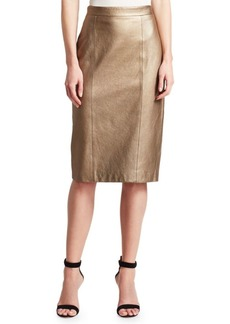 St. John Antique Metallic Leather Pencil Skirt