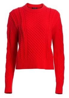 St. John Aran Cable Knit Drop Shoulder Sweater