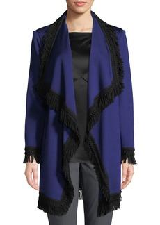 St. John Artisan Knit Fringe Wool-Blend Topper