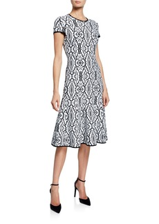St. John Artisanal Ikat Jacquard Cap-Sleeve Fit-and-Flare Dress