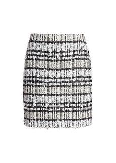 St. John Artisanal Plaid A-line Skirt