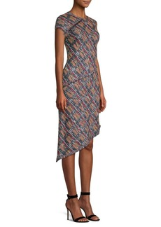 St. John Asymmetric Tweed A-Line Dress