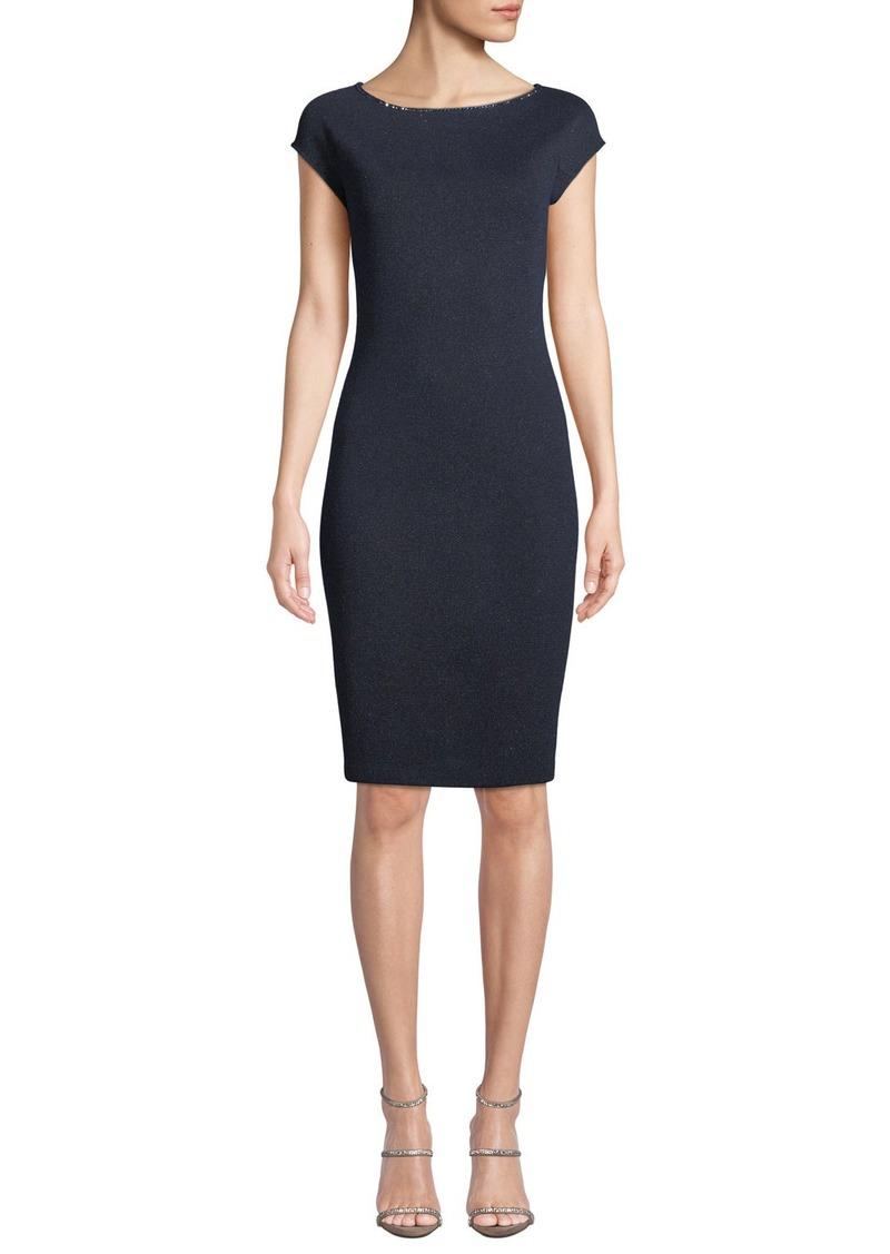 St. John Bateau-Neck Cap-Sleeve Metallic-Knit Body-Con Dress